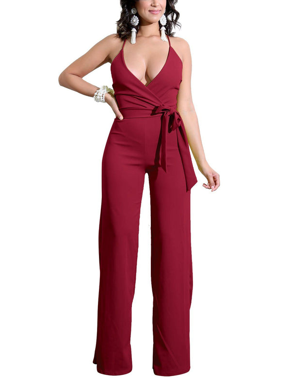 Sexy Slip Criss Cross Straps Solid Jumpsuit