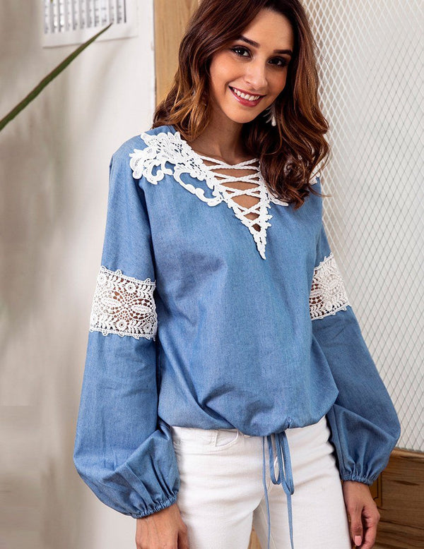 2018 Autumn Denim Blue V-Neck Lace Stitching Long-Sleeved Blouse