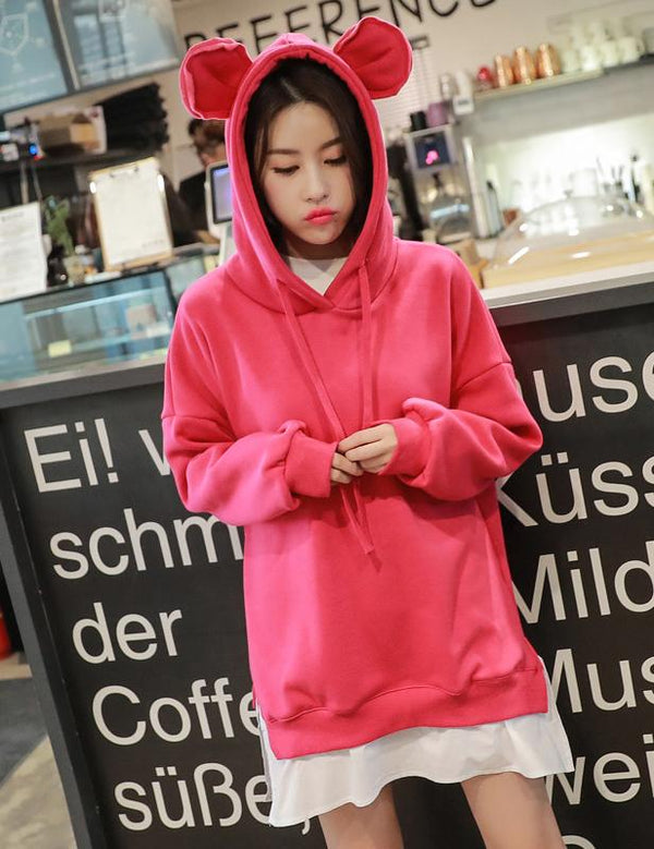2018 Autumn and Winter Split Hooded Bear Ear Sweatshirt