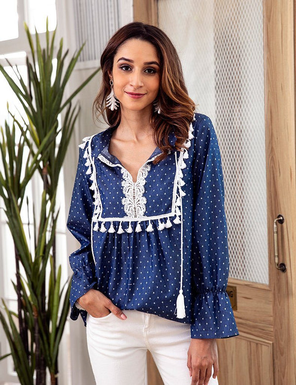 Autumn Long-Sleeved Denim Blue Lace Stitching Fringed V-Neck Drawstring Blouse