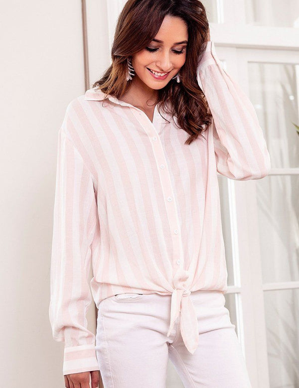 New Striped Casual Button Long-Sleeved Fashion Bow Blouse
