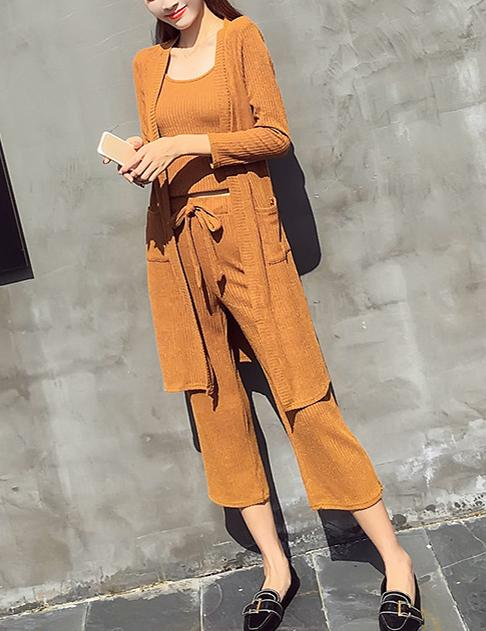 New Autumn Sling Vest Knit Cardigan Fragrance Loose Nine-Point Pants Three Sets Suit