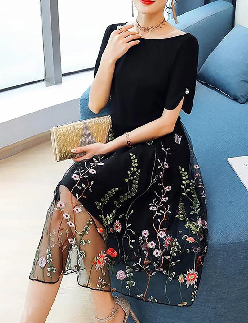 Plus Size Short Sleeve Embroidery Black Casual Midi Dress