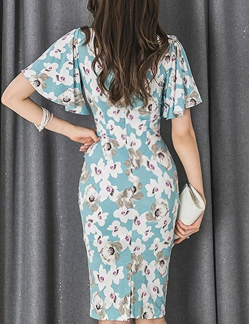 V-Neck Ruffle Sleeve Floral Bodycon Midi Dress with Belt