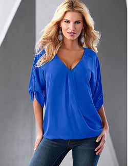 Half Sleeve Zipper Solid V neck High Low Blouse - Fancyqube