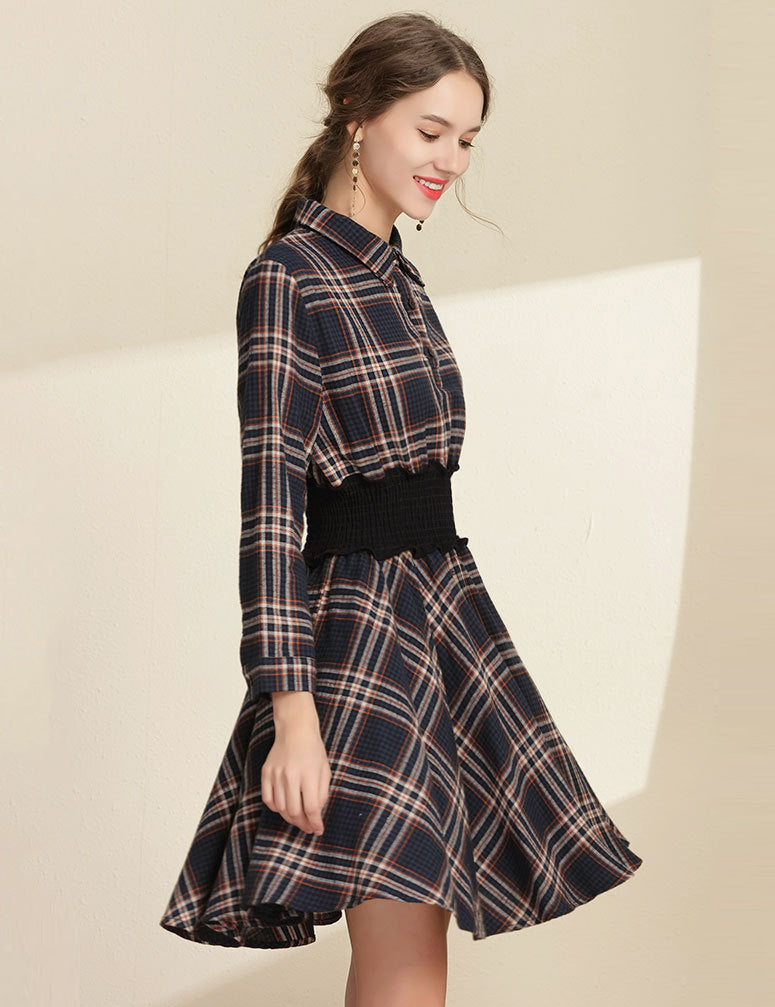 A-Line Lapel Elastic Waist Navy Plaid Long Sleeved Casual Midi Dress