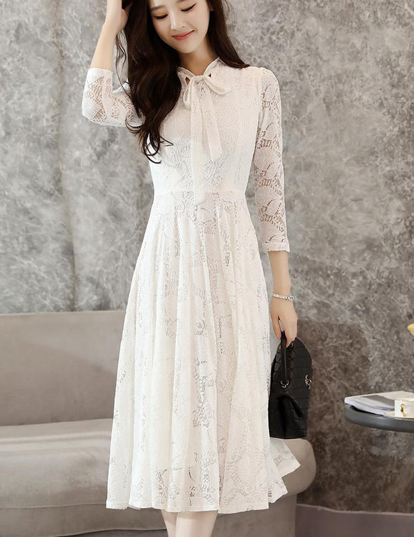 A-Line Long Sleeve Tied Bowknot White Lace Midi Dress