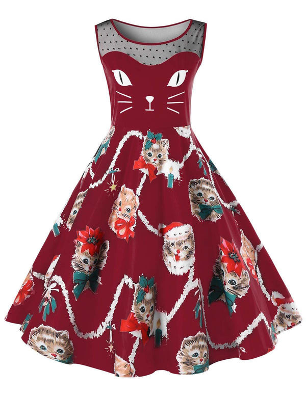 A-Line Round Neck Cute Cats Printed Burgundy Casual Midi Dress