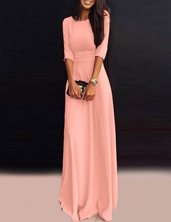 A-Line Seven-Point Sleeves Pleated Solid Maxi Party Dress