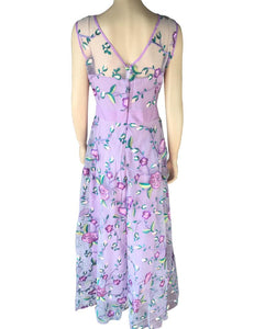 A-Line Sexy Mesh Floral Embroidery Maxi Dress