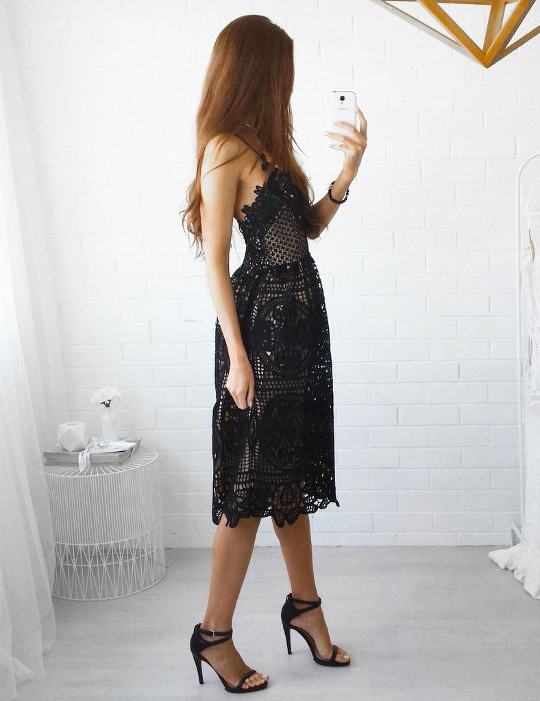 A-Line Sexy Slip Backless Lace-Up Back Black Lace Mini Dress