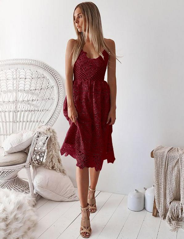A-Line Sexy Slip Backless Lace-Up Back Burgundy Lace Mini Dress
