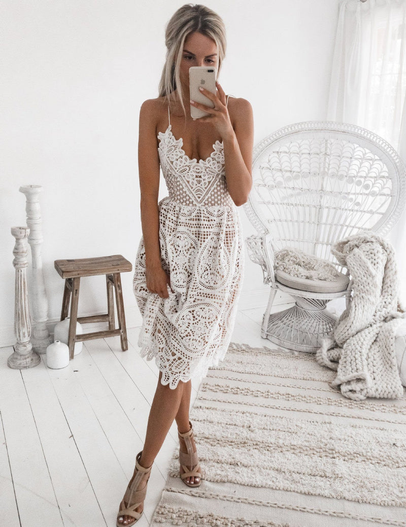 A-Line Sexy Slip Backless Lace-Up Back Lace Mini Dress