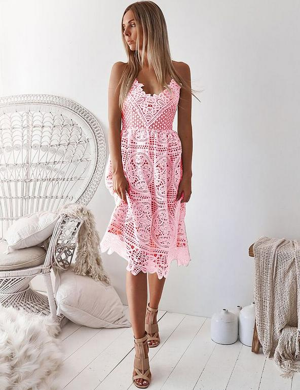 A-Line Sexy Slip Backless Lace-Up Back Pink Lace Mini Dress