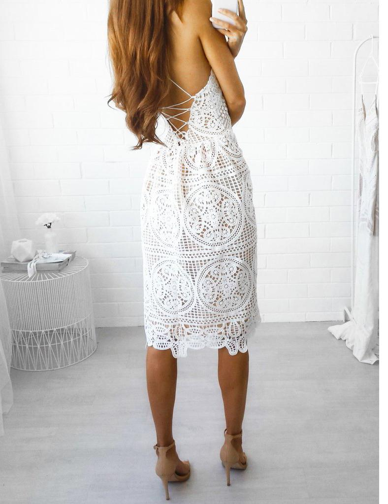 A-Line Sexy Slip Backless Lace-Up Back White Lace Mini Dress
