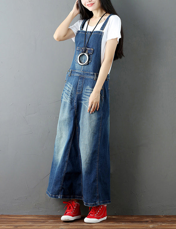 A-line Literary Retro Straps Pockets Blue Denim Long Dress