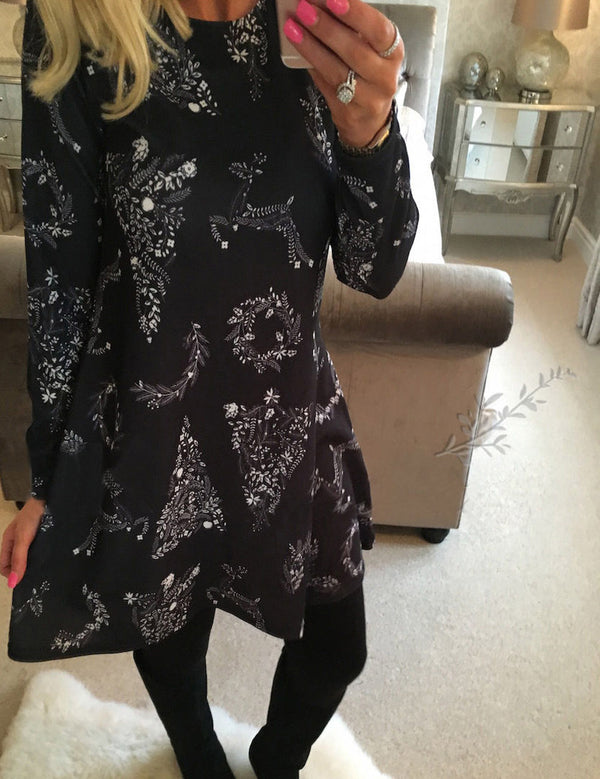Women's Fashion Christmas Print Black Christmas Tree A-line Dress