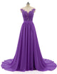 A Line Short Sleeve Round Neck Floor Length Applique Chiffon Dress