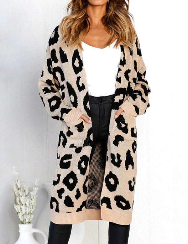 Autumn Long Sleeve Pockets Printed Knit Sweater Cardigan