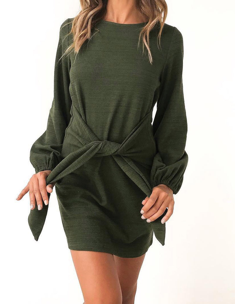 Autumn Boat Neck  Long Sleeve Front Tied Bowknot Mini Dress