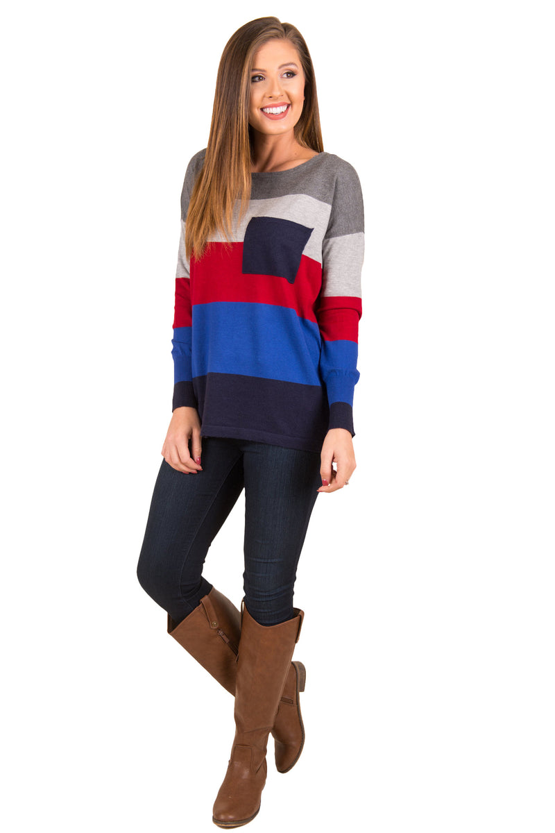 Autumn Color Stitching Round Neck Long Sleeve Casual Knited Sweater