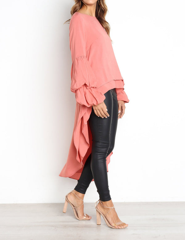 Autumn Fashion Long Sleeve Pullover High-Low Long Chiffon Blouse