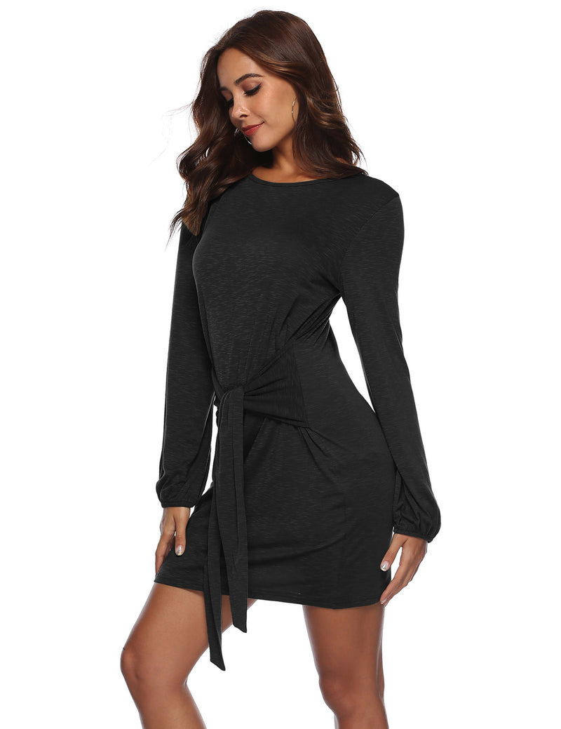 Autumn Long Sleeve Front Tied Bowknot Mini Black Dress