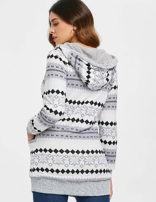 Autumn Long Sleeve Printed Casual Grey Hooded Sweater