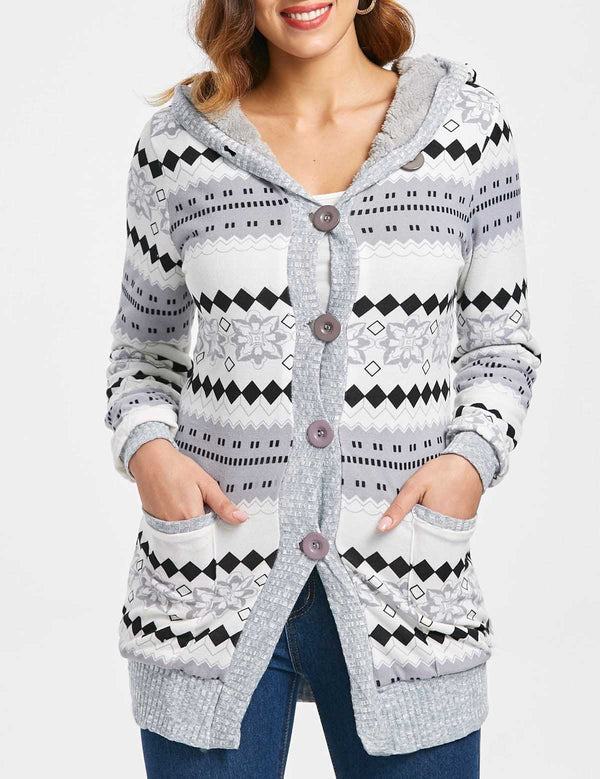 Autumn Long Sleeve Printed Casual Long Grey Hooded Sweater