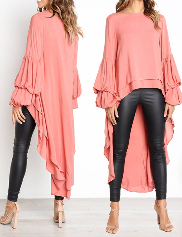 Autumn Long Sleeve Pullover High-Low Long Chiffon Blouse