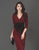 Autumn New Ladies Lapel V-Neck Bowknot Burgundy Bodycon Dress