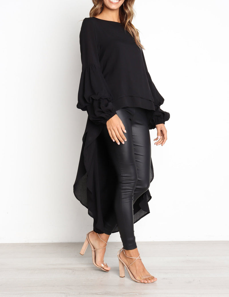 Autumn New Long Sleeve Pullover High-Low Long Chiffon Blouse