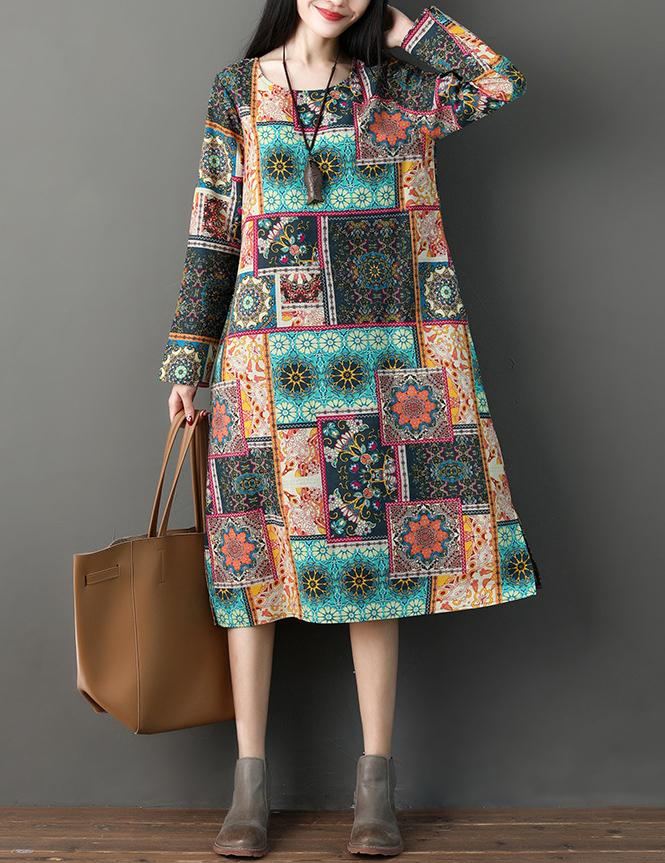 Autumn New National Long Sleeved Printed Cotton Midi Dress