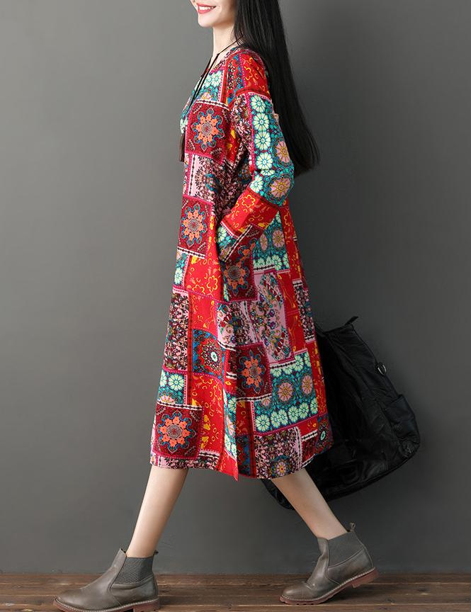 Autumn New National Style Long Sleeved Printed Cotton Dress