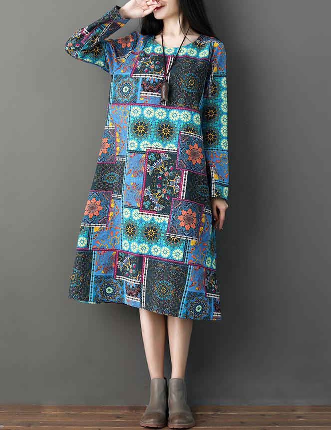 Autumn New National Style Long Sleeved Printed Cotton Midi Dress