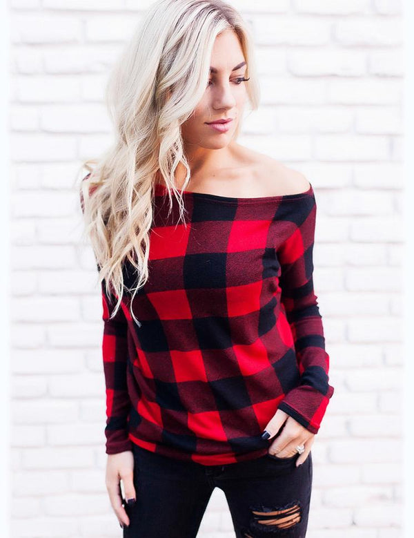 Autumn New Sexy Off Shoulder Long Sleeve Red Striped  T-Shirt