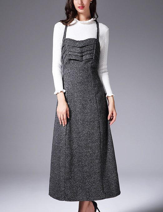 Autumn New Straps Ruffled Bust Grey Wool Elegant Long Dress