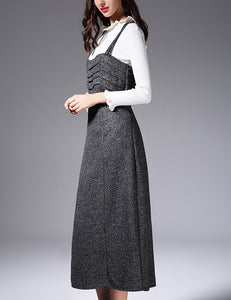 Autumn New Straps Ruffled Grey Wool Elegant Long Dress