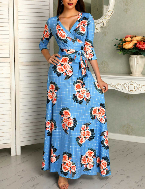 Autumn New V-Neck Floral Grid Pattern Belted Wrap Maxi Dress