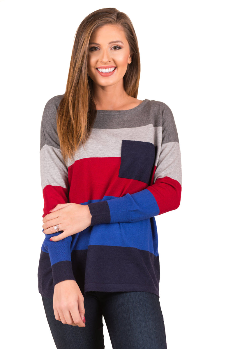 Autumn Round Neck Color Stitching Long Sleeve Casual Knited Sweater