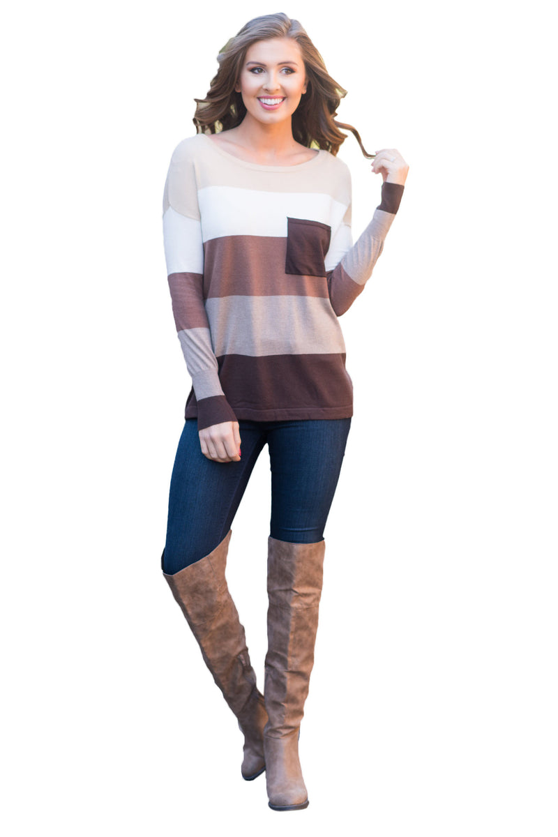Autumn Round Neck Long Sleeve Color Stitching Casual Knited Sweater