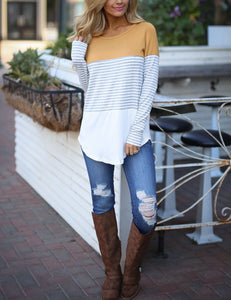 Autumn Round Neck Stitching Striped Long Sleeve Casual T-shirt
