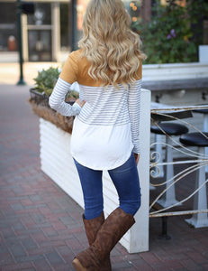 Autumn Round Stitching Striped Long Sleeve Casual T-shirt