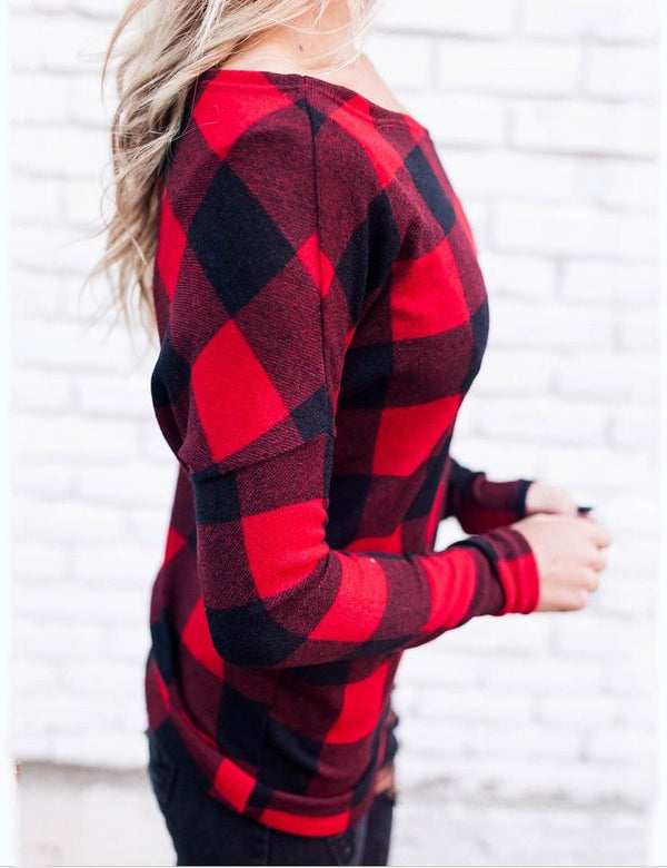 Autumn Sexy Off Shoulder Long Sleeve Red Striped  Top