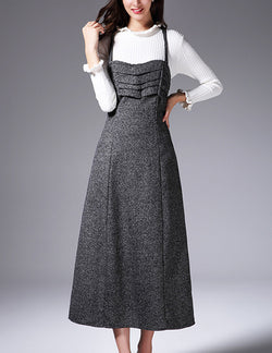 Autumn New Straps Bust Ruffled Grey Wool Elegant Long Dress