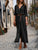 Autumn V-Neck Belt Slit Hem Long Sleeve Casual Shirt Dress