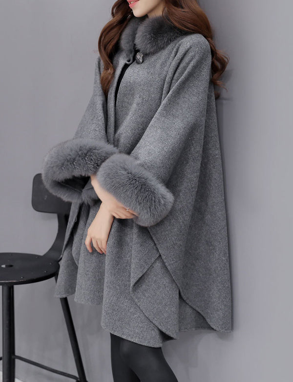 Autumn Winter New Fur Collar Irregular Long Cape Shawl Woolen Coat