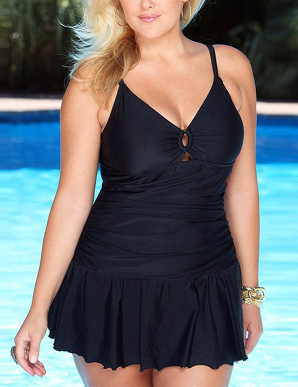 Plus Size Sexy Sling Pleated Skirt One Piece Swimsuit - Fancyqube