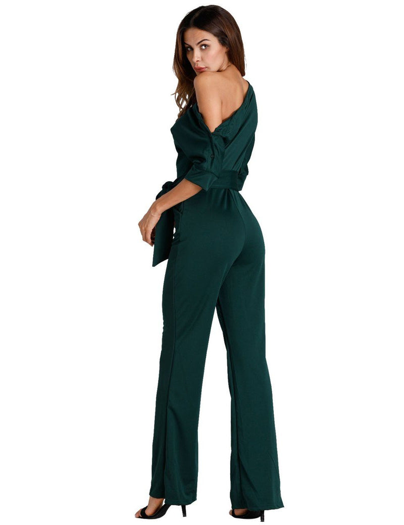 Black Oblique One Shoulder Button Wide-Leg Jumpsuit