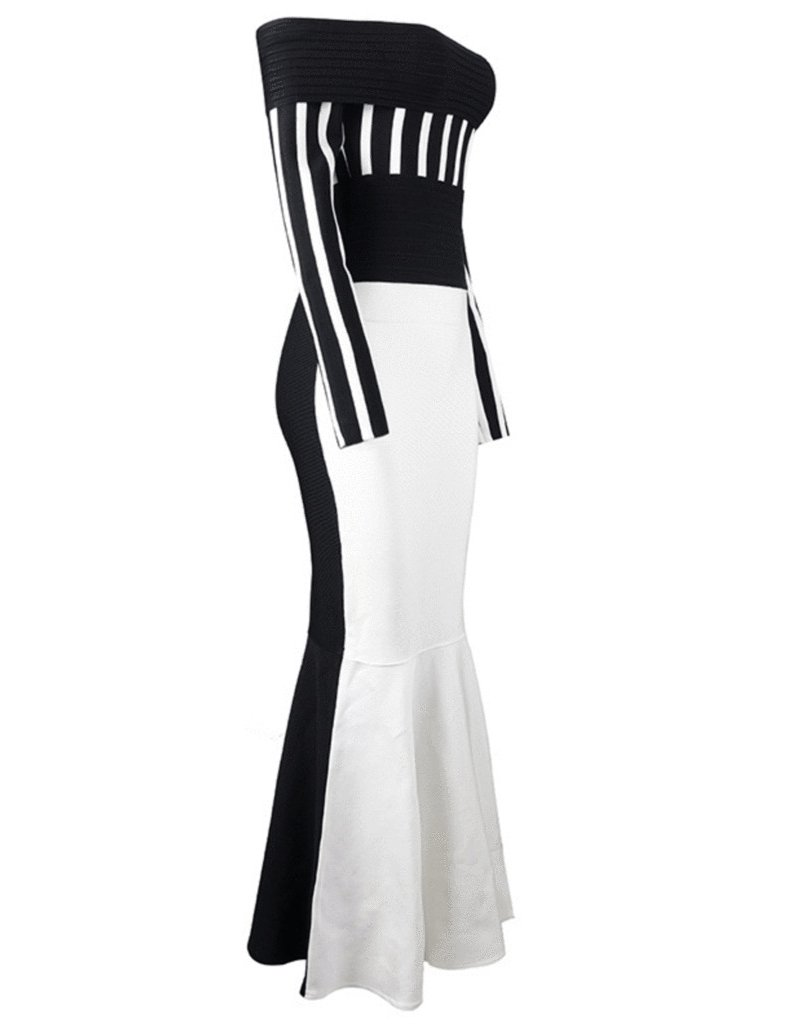 Black and White Stripe Off Shoulder Bodycon Dress